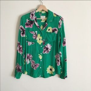J. Crew Collection Floral Punk Silk Button Down